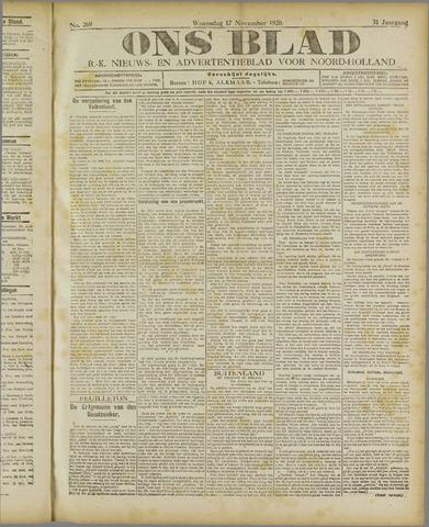 Ons Blad : katholiek nieuwsblad voor N-H 1920-11-17