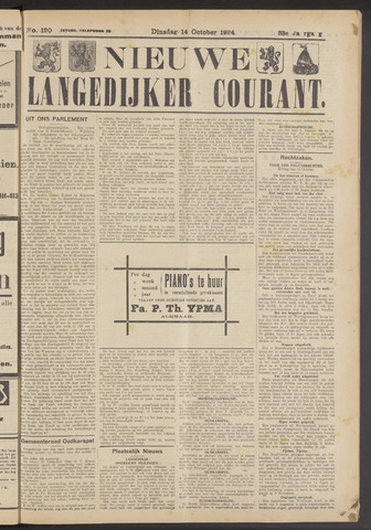 Nieuwe Langedijker Courant 1924-10-14