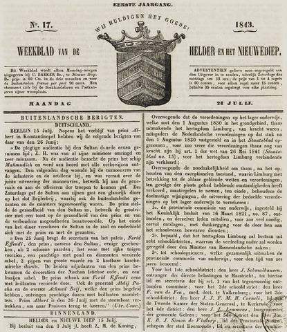 Weekblad van Den Helder en het Nieuwediep 1843-07-24
