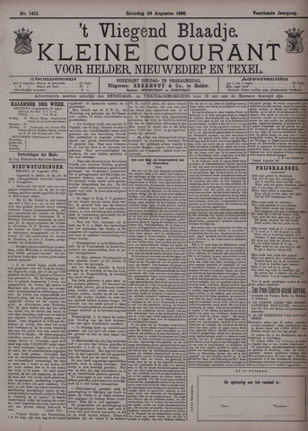 Vliegend blaadje : nieuws- en advertentiebode voor Den Helder 1886-08-28
