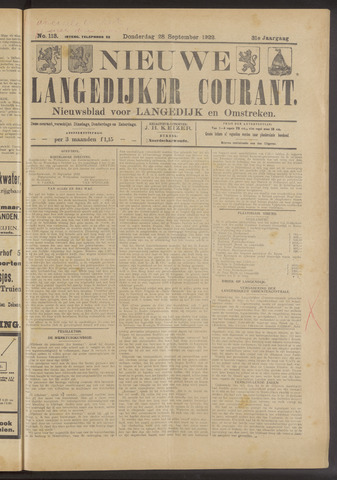 Nieuwe Langedijker Courant 1922-09-28
