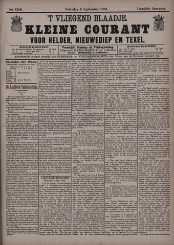 Vliegend blaadje : nieuws- en advertentiebode voor Den Helder 1884-09-06