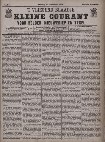 Vliegend blaadje : nieuws- en advertentiebode voor Den Helder 1881-11-15