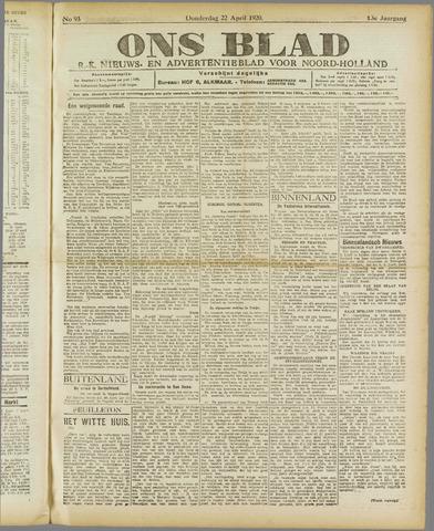 Ons Blad : katholiek nieuwsblad voor N-H 1920-04-22