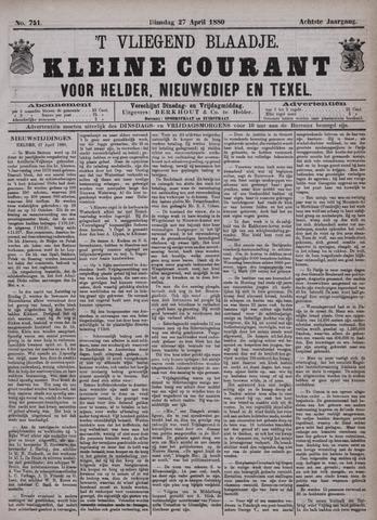 Vliegend blaadje : nieuws- en advertentiebode voor Den Helder 1880-04-27