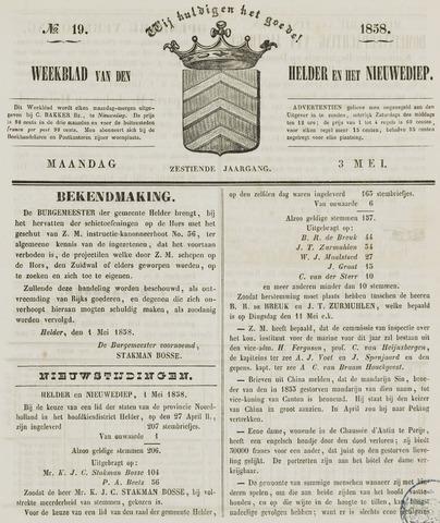 Weekblad van Den Helder en het Nieuwediep 1858-05-03