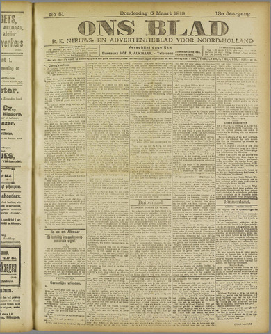 Ons Blad : katholiek nieuwsblad voor N-H 1919-03-06