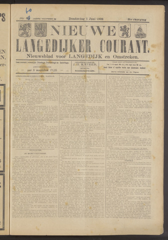 Nieuwe Langedijker Courant 1922-06-01