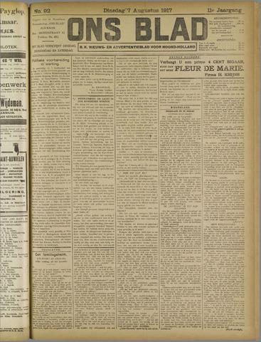 Ons Blad : katholiek nieuwsblad voor N-H 1917-08-07