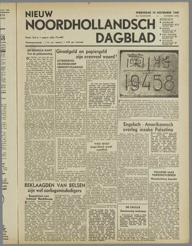 Nieuw Noordhollandsch Dagblad : voor Alkmaar en omgeving 1945-11-14