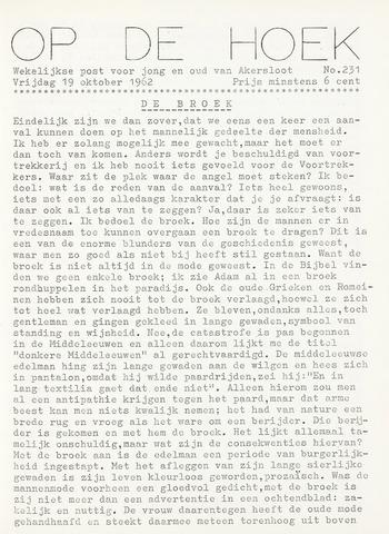 Op De Hoek, weekblad voor Akersloot 1962-10-19