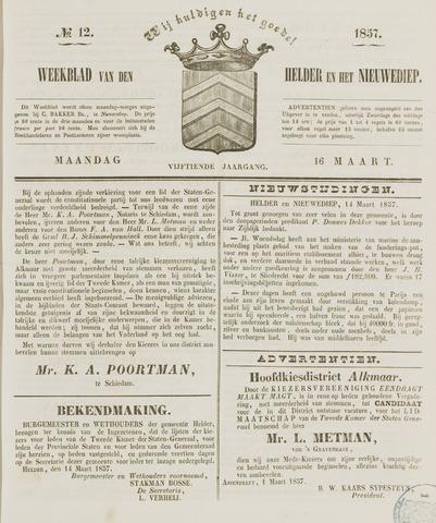 Weekblad van Den Helder en het Nieuwediep 1857-03-16