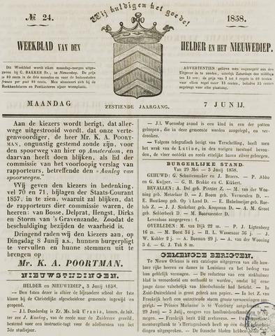 Weekblad van Den Helder en het Nieuwediep 1858-06-07