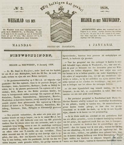Weekblad van Den Helder en het Nieuwediep 1858-01-04