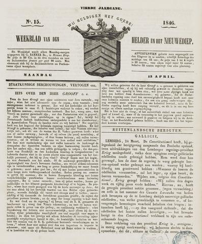 Weekblad van Den Helder en het Nieuwediep 1846-04-13