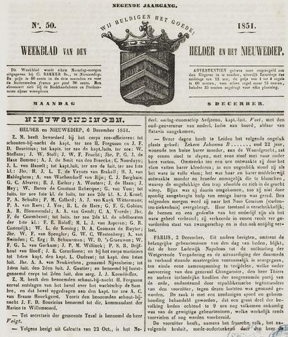 Weekblad van Den Helder en het Nieuwediep 1851-12-08