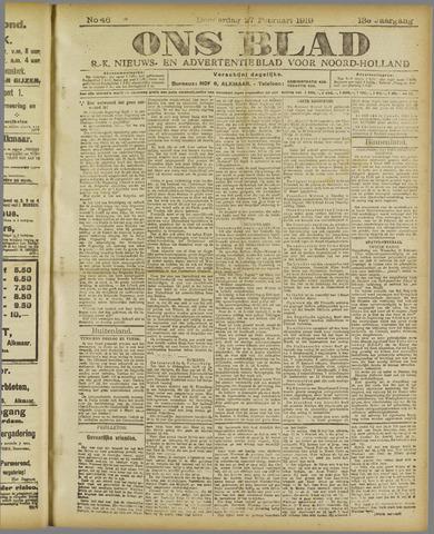 Ons Blad : katholiek nieuwsblad voor N-H 1919-02-27