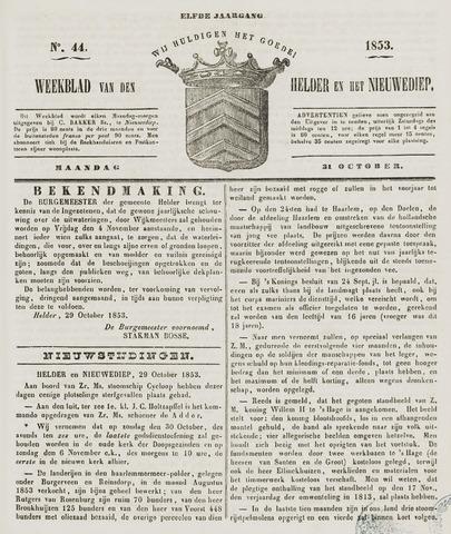 Weekblad van Den Helder en het Nieuwediep 1853-10-31