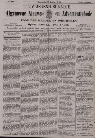 Vliegend blaadje : nieuws- en advertentiebode voor Den Helder 1875-01-27