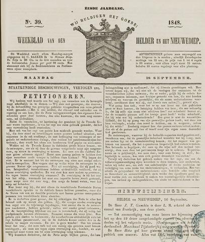 Weekblad van Den Helder en het Nieuwediep 1848-09-18