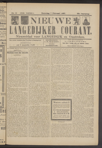Nieuwe Langedijker Courant 1920-02-07