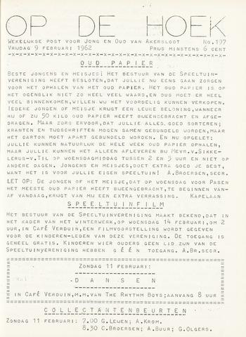Op De Hoek, weekblad voor Akersloot 1962-02-09