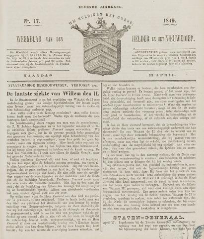Weekblad van Den Helder en het Nieuwediep 1849-04-23