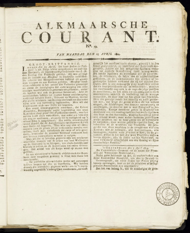 Alkmaarsche Courant 1814-04-25