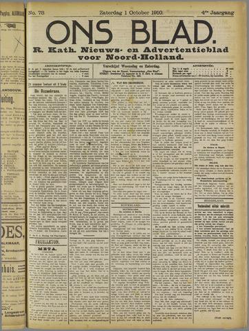 Ons Blad : katholiek nieuwsblad voor N-H 1910-10-01
