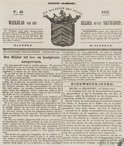 Weekblad van Den Helder en het Nieuwediep 1851-10-20