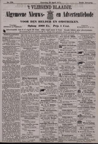 Vliegend blaadje : nieuws- en advertentiebode voor Den Helder 1875-04-10