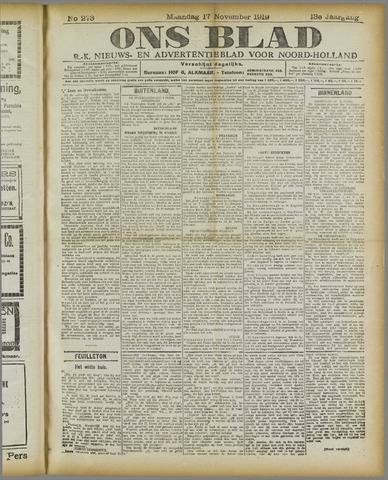 Ons Blad : katholiek nieuwsblad voor N-H 1919-11-17