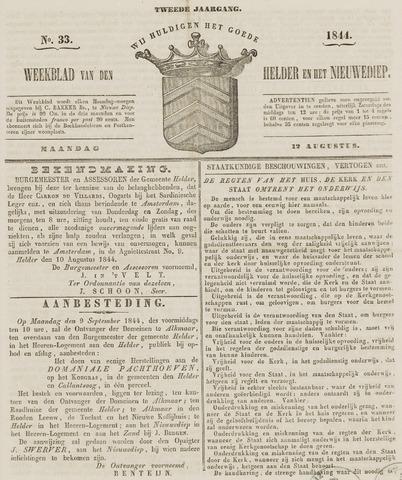 Weekblad van Den Helder en het Nieuwediep 1844-08-12