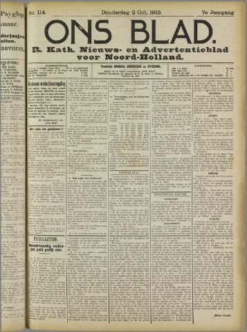 Ons Blad : katholiek nieuwsblad voor N-H 1913-10-02