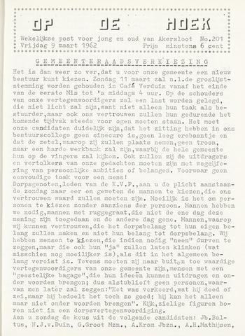 Op De Hoek, weekblad voor Akersloot 1962-03-09
