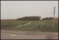 weg; weiland met paard; hekwerk; sloot; achtergrond vaag zichtbaar huis van Piet…