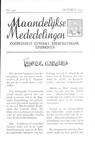 blad 'Maandelijkse Mededelingen' (CCB) 1955-10-01