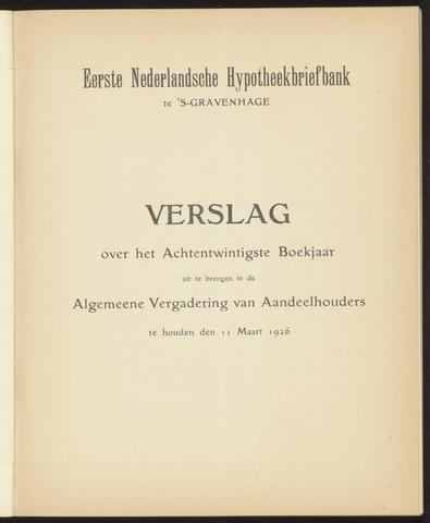 Jaarverslagen Eerste Nederlansche Hypotheekbriefbank 1925