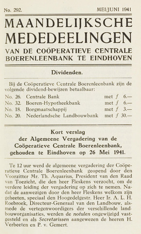 blad 'Maandelijkse Mededelingen' (CCB) 1941-05-01