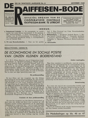 blad 'De Raiffeisen-bode' (CCRB) 1940-12-01