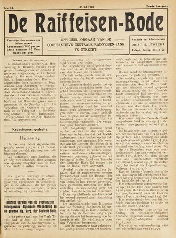 blad 'De Raiffeisen-bode' (CCRB) 1921-07-01
