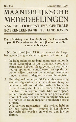 blad 'Maandelijkse Mededelingen' (CCB) 1930-12-01