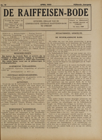 blad 'De Raiffeisen-bode' (CCRB) 1930-04-01