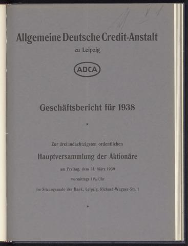 Geschäftsberichte Allgemeine Deutsche Credit-Anstalt / ADCA Bank 1938-01-01