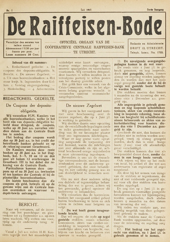 blad 'De Raiffeisen-bode' (CCRB) 1917-07-01