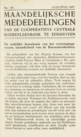 blad 'Maandelijkse Mededelingen' (CCB) 1927-08-01