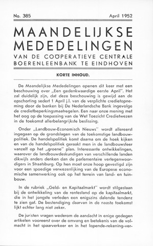 blad 'Maandelijkse Mededelingen' (CCB) 1952-04-01