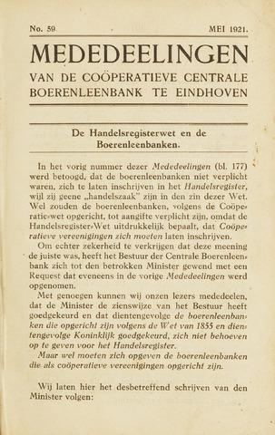 blad 'Maandelijkse Mededelingen' (CCB) 1921-05-01