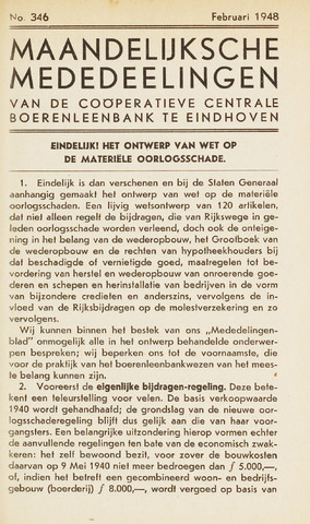blad 'Maandelijkse Mededelingen' (CCB) 1948-02-01