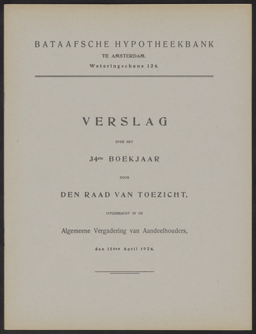 Jaarverslagen Bataafsche Hypotheekbank 1923